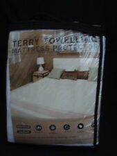 Terry Towelling Mattress Protector-Double 140x190cm (30 cm depth)