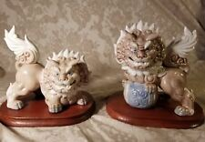 Vintage 1950s Set of Hand Painted Porcelain Foo Lion Dog Wood Base Japan