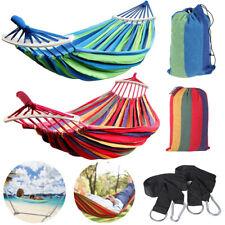 Canvas Outdoor Hammock Cotton Swing Camping Beach Patio Garden Hanging Chair Bed