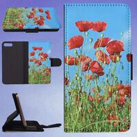 NATURE RED FLOWER POPPY FLIP WALLET CASE FOR APPLE IPHONE PHONES