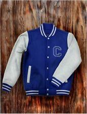Men's Blue Letterman Baseball Varsity Top Jacket College School Team Jersey Coat
