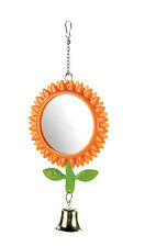 Sunflower Budgie Mirror Double Sided with Chain & Bell 13cm Bird Cage Toy