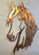 Horse Head Copper Patina Metal Wall Art