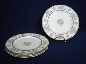 "Set of 4 Minton HENLEY 8"" Salad/Dessert Plates Green & Blue Flowers Gold Trim"
