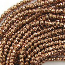 "3mm faceted pyrite rondelle beads 13"" strand copper color S1"