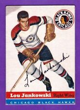 1954-55 TOPPS VINTAGE HOCKEY CARD#28 LOU JANKOWSKI (CHICAGO BLACK HAWKS)  (EX+)