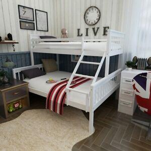 Solid Wood Pine Triple Sleeper Bunk Bed Frame 3ft & 4ft6 Kid Adult Beds White UK