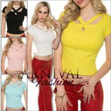Short Sleeve Clubwear Crop Tops for Women