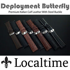 Premium Italian Calf Leather Watch Strap Deployment Butterfly S/S Buckle 16-22mm