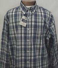 NWT Sport Shirt Big and Tall LS Saddlebred Mens Easy Care Gray Plaid Blue New LT