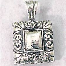 HIGH POLISHED SQUARE HEART SCROLL BORDER PENDANT__925 STERLING SILVER