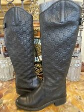 GUCCI 'Maud' Black Leather Guccissima Riding Boots Size 8 38.5 RETAIL $1,100