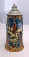 Vintage Dimensional German Beer Stein w/ Hunting Scene, Raised Relief Hand Paint
