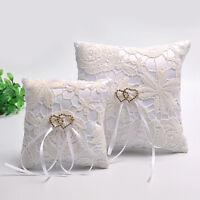 Double Heart Wedding Pocket Ring Pillow Cushion Bearer Crystal Rhineston JR