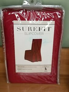 Sure Fit long Dining Chair slipcover cotton duck color: Claret