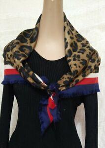 "Gucci Scarf Silk Blue Red White Leopard Print  34""X34"" w/Fringe"