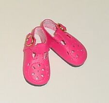 "DOLL Shoes 37mm DARK PINK T-Straps for *Bleuette, 12""Shirley T"