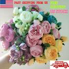 Artificial Silk Peony Rose Flower Fake Pink Wedding Bouquet DIY Home Party Decor