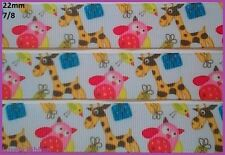 1 metre, GIRAFFE, OWL, 22mm, Ribbon, 7/8, Grosgrain, Hair, Baby, Sewing