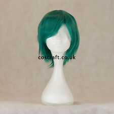 Short layered cosplay wig with fringe in midnight green, UK seller, Prince style