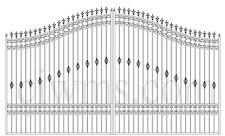Custom Built Driveway Entry Gate 16 Ft Wide Dual Swing Commercial - Residential