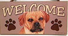 Welcome Puggle Tan Beagle/Pug Cross Dog Breed Wood Sign Plaque New
