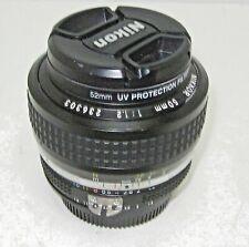 NIKON NIKKOR 50mm Lens Ai-S 1:1.2 MF Lens w/ UV Filter, Front and Rear Caps