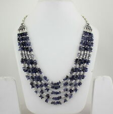 Necklace natural iolite gemstone handmade beaded jewelry chips 70 grams