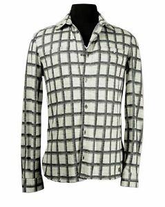 John Galliano off-white linen/viscose check shirt