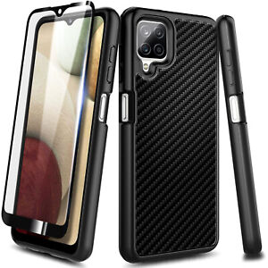 For Samsung Galaxy A12 Case, Shockproof Carbon Fiber Cover with Tempered Glass