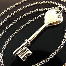 NECKLACE CHAIN 925 STERLING SILVER SF DIAMOND SIMULATED 21ST KEY PENDANT FS3A975
