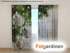"""Fotogardinen """"Weihnachtskugeln"""" Vorhang mit Fotodruck, Fotovorhang, auf Maß"""
