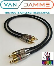 *LC-OFC* Van Damme/Gold RCA Phono Cable Black braided 0.5m pair 50cm
