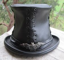 GENUINE BLACK LEATHER STEAMPUNK GOTHIC CORSET / CORSAGE TOP HAT W. BAT ORNAMENT
