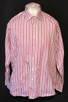"Ben Sherman Men's Shirt Pink White Striped Long Sleeve Cotton Blend 17"" Collar"