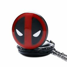 Mini Cool Deadpool Marvel Quartz Pocket Watch Necklace Pendant Chain Gift