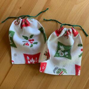 """2 Vintage Holiday Christmas Gift Bags 100% Linen Fabric Reusable 7 x 8.5"""""""