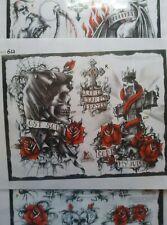 5 Sheets Skulls Reapers Roses,Tattoo Designs Flash,bullseye brand,not Cain Soba
