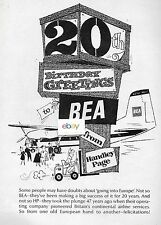 BEA BRITISH EUROPEAN 1966 HAPPY 20TH BIRTHDAY FROM HANDLEY PAGE HERALD AD