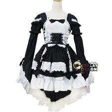 Stylish Schwarz Mädchen Prinzessin Alice Lolita Cosplay Kleid Verkleidung Kostüm