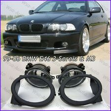 For 01-06 BMW E46 3-Series M3 M-tech Glass Lens Clear Fog Lights Lamps w/ Covers