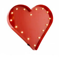 Large LED Metal Red Heart Wall Art Vintage Retro Sign