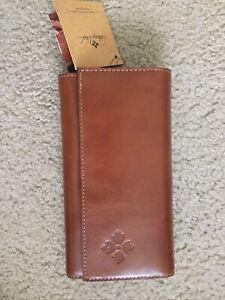 NEW! Patricia Nash Tan Heritage Terresa Heritage Leather Wallet Clutch Brown