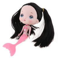 17cm Rosa Kleid Kleine Meerjungfrau Mädchenpuppe mit schwarzen Haarperücke