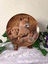 """Franklin Mint Collector Plate """"African Lioness And Cubs"""" By Michael Matherly"""