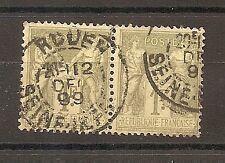 CLASSIQUE TIMBRE FRANCE FRANKREICH N°82 OBLITERE CACHET ROUEN EN PAIRE