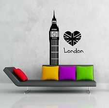 Wall Stickers Vinyl Decal I Love London England Great Britain Big Ben (z1833)