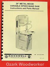 "ROCKWELL 20"" Metal Wood Band Saw Parts Manual 28-345 0602"