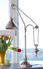 Tischleuchte mit Gegenzug,  nickel,  ca. 76 cm hoch, Tischlampe im Landhausstil