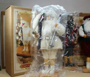 "Grandeur Noel Wooden Santa Nutcracker 17"" Christmas Skis White Limited Edition"